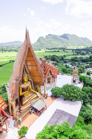 A bueatyful top view of wat thum sua  Tiger Cave Temple , karnchanaburi, thailand photo