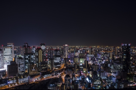 Night view at Osaka Japan, on the top of Umeda Sky Building Editorial