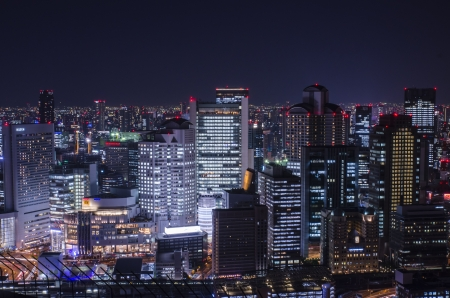 buliding: Night view at Osaka Japan, on the top of Umeda Sky Building Editorial