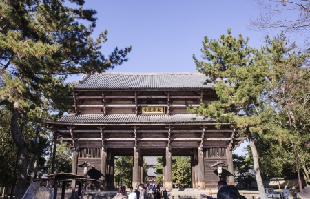 todaiji: The big gate to entrance to Todaiji Temple in Nara, Japan  The world Editorial