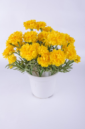 Marigold flowers made from a fabric. Stock Photo