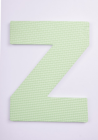 alphabet Z made from foam on white isolated Stock Photo