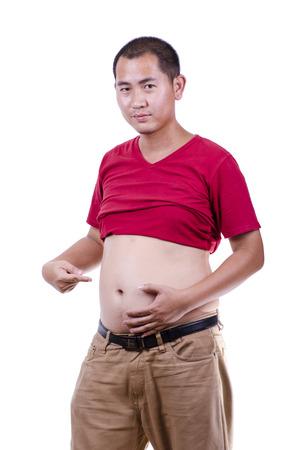 asian fat man on white