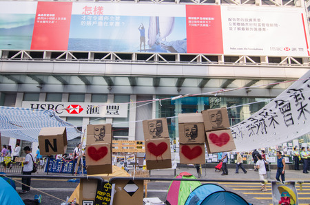 HONG KONG, OCT 15:  protesters occupy the road in Mongkok on 15 October 2014. they protest to free  election from china. they called Umbrella Revolution.