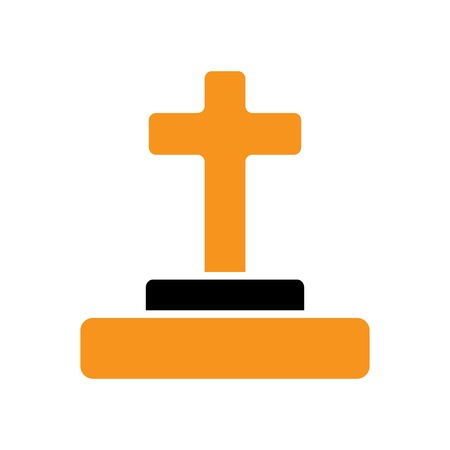Halloween grave icon on white
