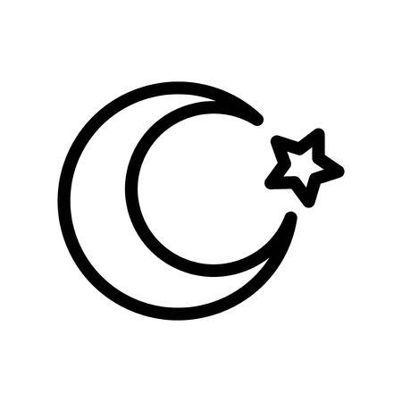 Ramadan Moon Star Night Turkish Islam Religion Culture Vector Line Icons. Editable Stroke and color.