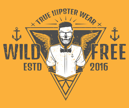 salt free: Free and wild hipster style design of print for T-Shirts
