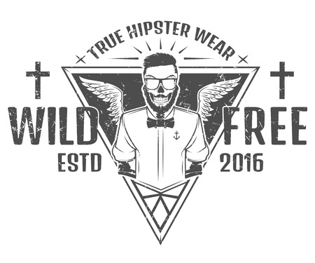 salt free: Free and wild hipster style design of print for Shirts