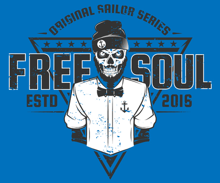 salt free: Free soul sailor style design of print for T-Shirts