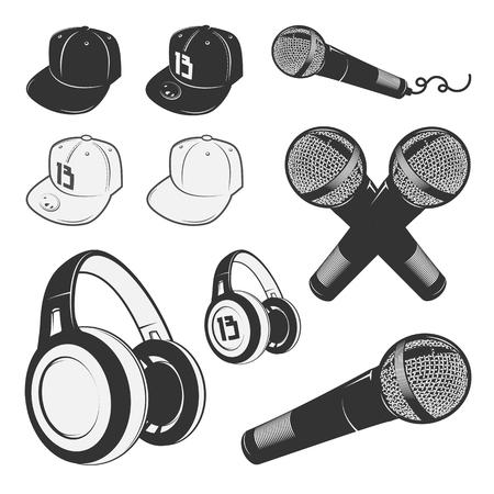 hop: Set of vintage rap emblems, labels and design elements. Monochrome style. Illustration