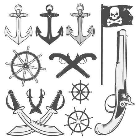 vintage schedels set van emblemen, tattoo