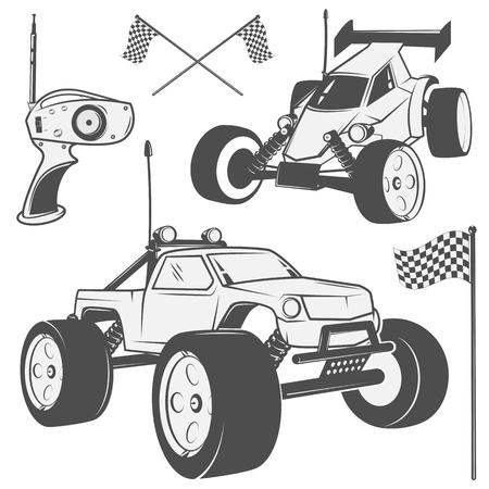 Set Funk Maschine Embleme, RC, gesteuerte Funk Spielzeug-Design-Elemente für Embleme, Symbol, T-Shirt, verwandte Embleme, Etiketten Vektorgrafik