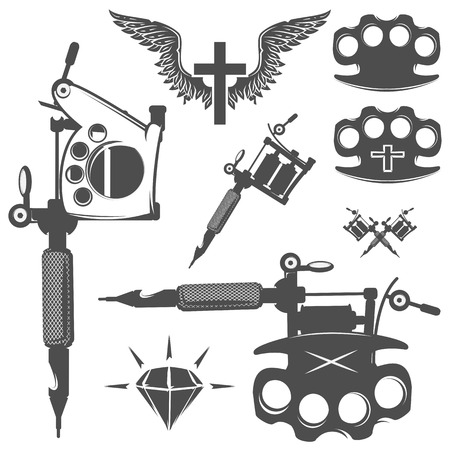 Set of eagle for emblem and design tattoo, labels Stock Illustratie