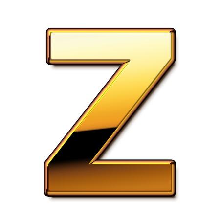 letras de oro: Oro letra Z aislado Foto de archivo