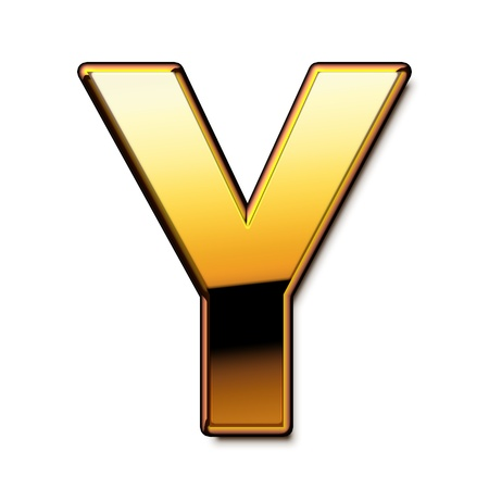 Gold letter Y isolated Stock Photo