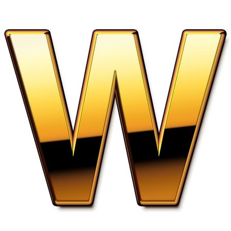 letras de oro: Oro letra W aislados Foto de archivo