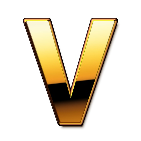 Gold letter V isolated Stock Photo