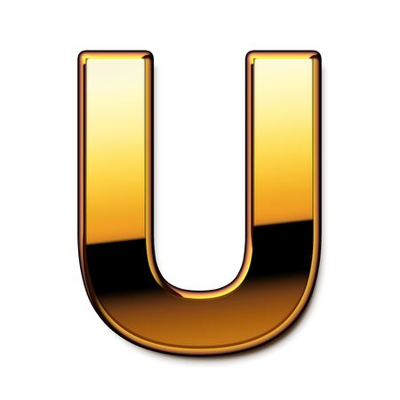 Gold letter U isolated Stock Photo
