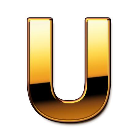 letras de oro: Oro letra U aislados
