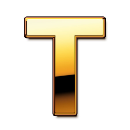 Gold letter T isolated Stock Photo