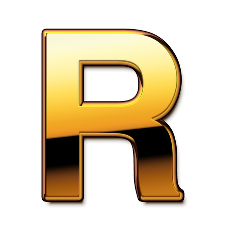Gold letter R isolated