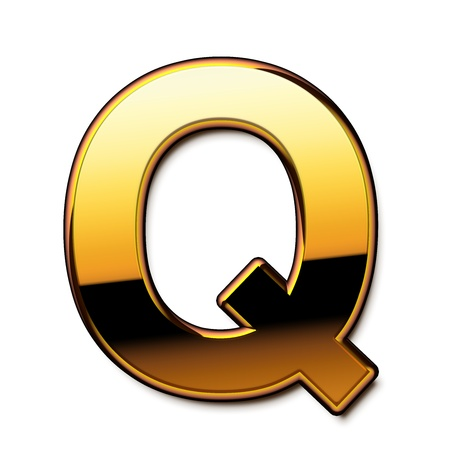 Gold letter Q isolated Stock Photo