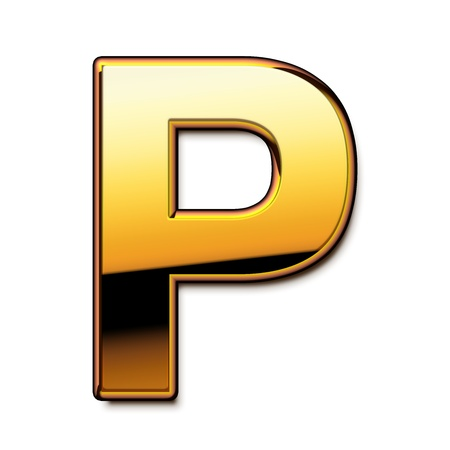 Gold letter P isolated