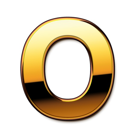 Gold letter O isolated Stock Photo