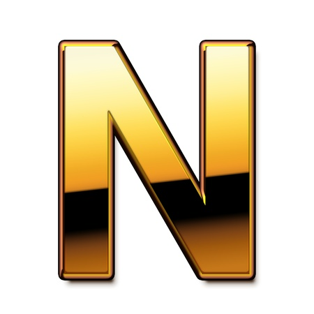 Gold letter N isolated Stock Photo
