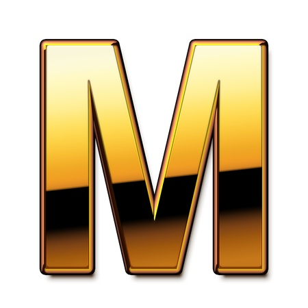 Gold letter M isolated