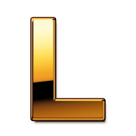 Gold letter L isolated
