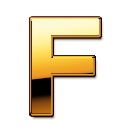 Gold letter F isolated