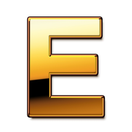 Gold letter E isolated
