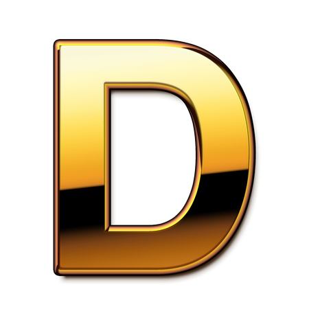 Gold letter D isolated