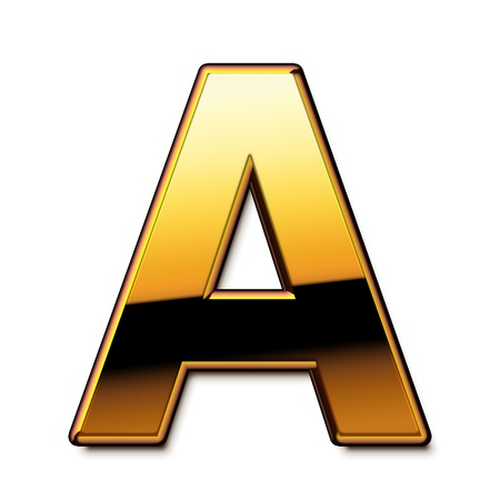 Gold letter A isolated