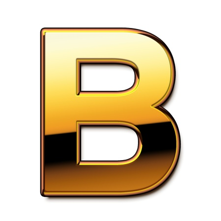 Gold letter B isolated