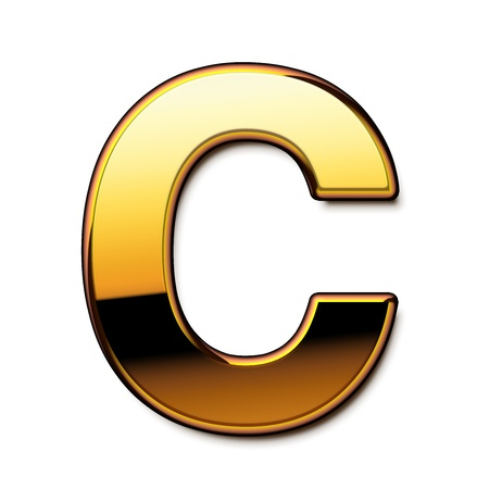 Gold letter C isolated Stock Photo