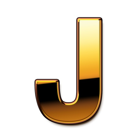 Gold letter J isolated