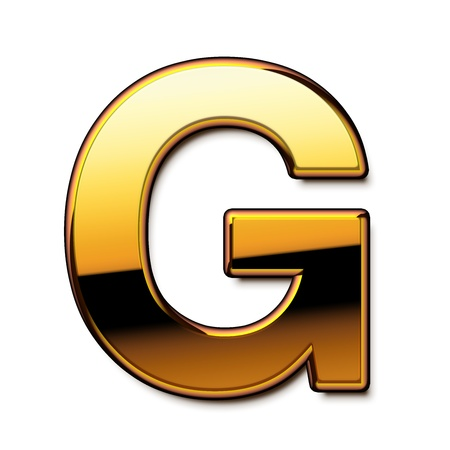 Gold letter G isolated Stock Photo