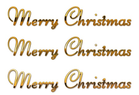 gold text merry christmas separated