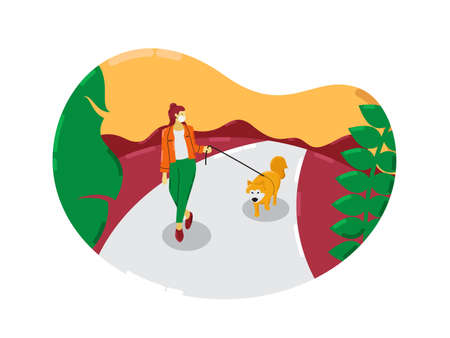 Young woman wearing face mask with her dog walking outside enjoying free time alone. illustration of new normal lifestyle. Vektorgrafik