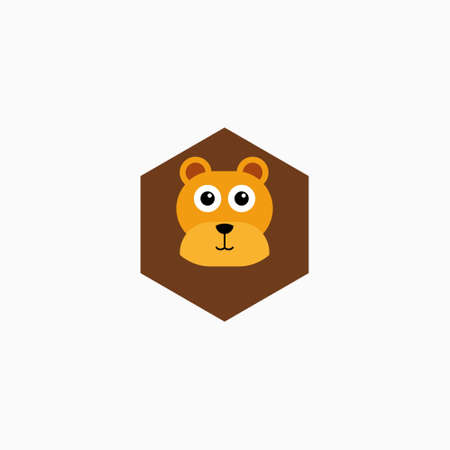 Vector Flat Lion's face isolated. Cartoon style illustration. Animal's head  . Object for web, poster, banner, print design. Advertisement decoration element.