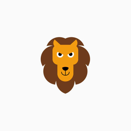 Vector Flat Lion's face isolated. Cartoon style illustration. Animal's head   decoration element. 向量圖像