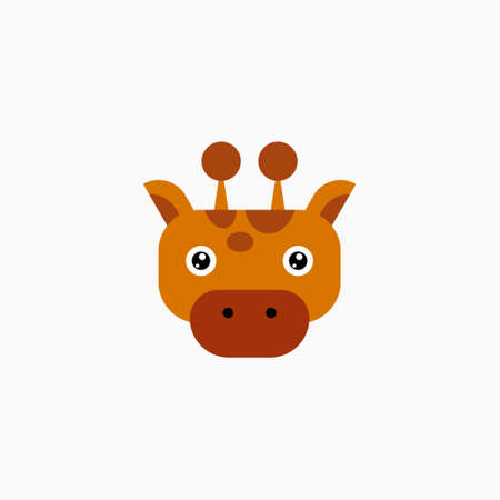 Vector Flat Giraffe's face isolated. Cartoon style illustration. Animal's head logo. Object for web, poster, banner, print design. Advertisement decoration element.