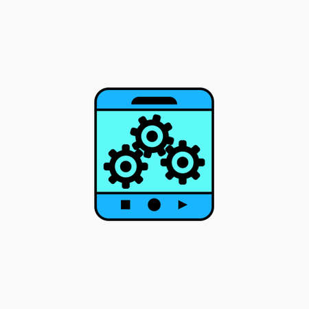 Artificial intelligence mobile phone icon. Vector AI technology concept symbol or design element in flat style. Stock Illustratie