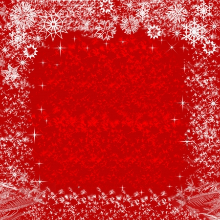 Abstract Christmas background in red with snowflakes Stock Photo - 16245885