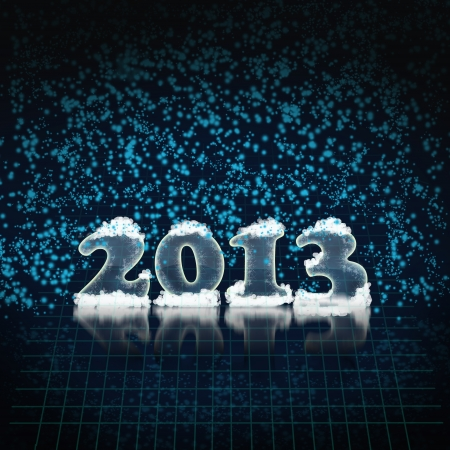 New Year's background in 2013 in restrained dark blue colors Stock Photo - 16245828