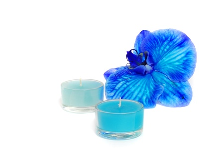 Two candles and blue orchid isolated on white background