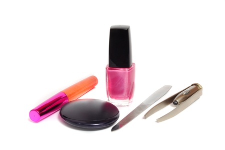 homogeneous: Female cosmetics isolated on a light homogeneous background Stock Photo