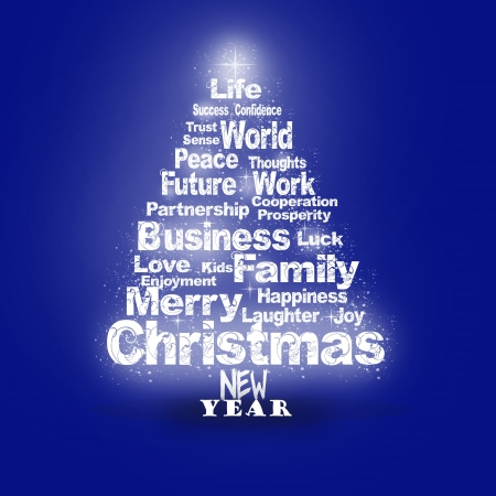 Abstract Christmas greeting with season wishes in blue colors. Christmas tree Stock Photo - 16412974